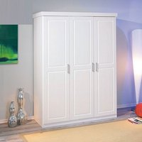 Product photograph showing Magnus Pine Wooden Wardrobe In White With 3 Doors