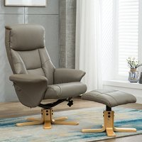 Product photograph showing Maida Leather Swivel Recliner Chair And Footstool In Grey