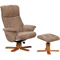Product photograph showing Maida Fabric Swivel Recliner Chair And Footstool In Mink