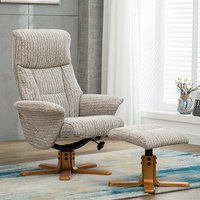 Product photograph showing Maida Fabric Swivel Recliner Chair And Footstool In Wheat