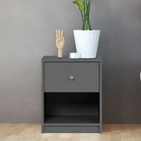 Product photograph showing Maiton Wooden 1 Drawer Bedside Cabinet In Grey