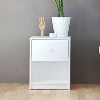 Product photograph showing Maiton Wooden 1 Drawer Bedside Cabinet In White