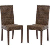 Helvetios Brown Kubu Rattan Dining Chairs In Pair