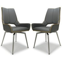 Product photograph showing Mako Swivel Leather Effect Graphite Grey Dining Chairs In Pair