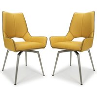 Product photograph showing Mako Swivel Leather Effect Yellow Dining Chairs In Pair