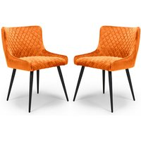 Product photograph showing Malmo Burnt Orange Velvet Fabric Dining Chair In A Pair