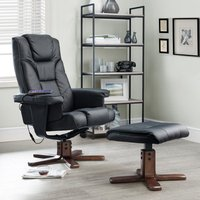 Malmo Faux Leather Massage Swivel And Recliner Chair In Black