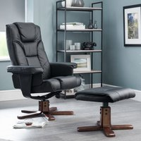 Malmo Faux Leather Swivel And Recliner Chair In Black