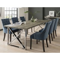Malta Large Grey Wooden Dining Table With 8 Vanille Blue Chairs