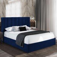 Manchester Plush Velvet Upholstered Single Bed In Blue