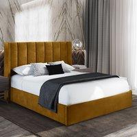 Manchester Plush Velvet Upholstered Single Bed In Mustard