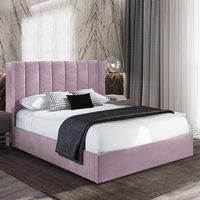 Manchester Plush Velvet Upholstered Single Bed In Pink