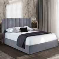 Manchester Plush Velvet Upholstered Single Bed In Steel