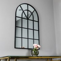Product photograph showing Manhattan Arched Window Design Wall Mirror In Black Frame