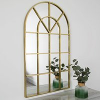 Product photograph showing Manhattan Arched Window Design Wall Mirror In Gold Frame