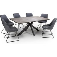 Product photograph showing Manhattan Dining Set With 6 Wax Grey Cooper Chairs