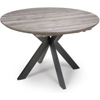Product photograph showing Manhattan Extending Round Wooden Dining Table In Grey
