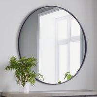 Manhattan Medium Round Wall Bedroom Mirror In Black Frame