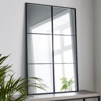 Product photograph showing Manhattan Window Design Wall Mirror In Black Frame