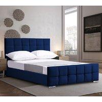 Manitou Plush Velvet Single Bed In Blue