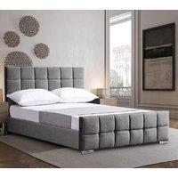 Manitou Plush Velvet Single Bed In Grey