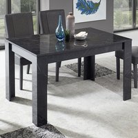 Manvos High Gloss Dining Table In Black Marble Effect