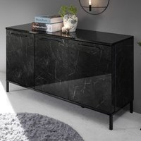 Manvos Wooden Sideboard In Black High Gloss Marble Effect