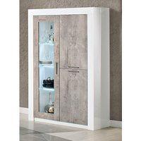 Product photograph showing Mapar Led Gloss White Grey Marble Effect 2 Door Display Cabinet