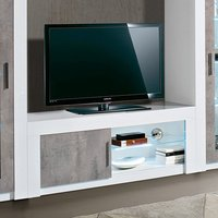 Product photograph showing Mapar Led Tv Stand In Gloss White And Grey Marble Effect
