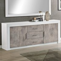 Product photograph showing Mapar Wooden Sideboard In Gloss White And Grey Marble Effect