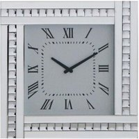 image-Marbella Modern Mirrored Glass Square Wall Clock In Silver