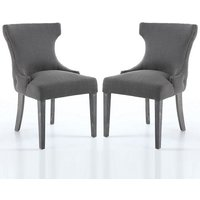 Marcel Fabric Dining Chair In Grey With Wooden Legs In A