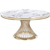 Product photograph showing Marcelo Round White Marble Dining Table With Gold Base