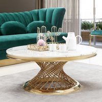 Product photograph showing Marcelo White Marble Coffee Table With Gold Stainless Steel Legs