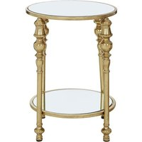 Product photograph showing Marcia 2 Tier Mirrored Glass Side Table In Gold