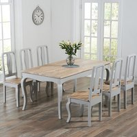 Marco Wooden Dining Table In Grey With 6 Dining Chairs