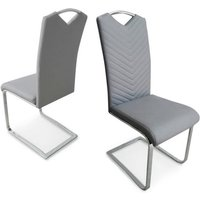 Marconi Dining Chair In Light Grey Faux Leather In A Pair