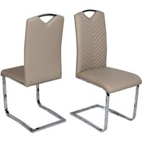 Marconi Cantilever Dining Chair In Taupe Faux Leather In A Pair