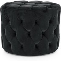 Product photograph showing Macrus Fabric Footstool In Blue Velvet Midnight
