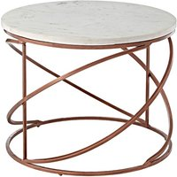 Maren Marble Top Coffee Table Round With Copper Finish Frame