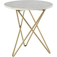 Maren Marble Top Round Side Table With Golden Frame