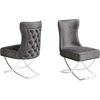 Product photograph showing Maria Dark Grey Velvet Fabric Dining Chairs In Pair