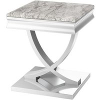 Product photograph showing Maria Marble Side Table In Light Grey