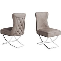 Product photograph showing Maria Mink Velvet Fabric Dining Chairs In Pair