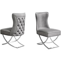 Product photograph showing Maria Silver Grey Velvet Fabric Dining Chairs In Pair