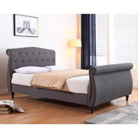 Marianna Linen Fabric Double Bed In Dark Grey
