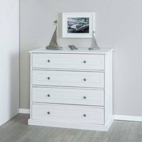 Marieka Chest Of Drawers In White Pine With 4 Drawers
