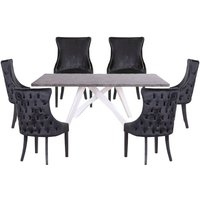 Marigje Wooden Dining Set With 6 Black Boston Chairs