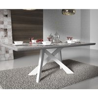 Product photograph showing Marigje Wooden Dining Table In Grey Marble Effect And White