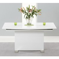 Product photograph showing Marila Extending Wooden Dining Table In White High Gloss